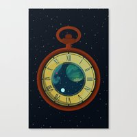pocket Canvas Prints featuring Cosmic Pocket Watch by badOdds