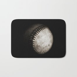 Battered Baseball in Black and White Bath Mat