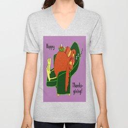 Sleeping Turkey with Pumpkin Pie Unisex V-Neck