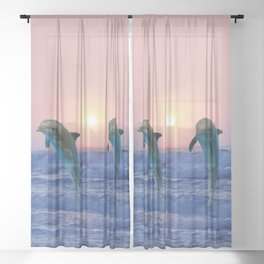 Dolphins at sunrise Sheer Curtain