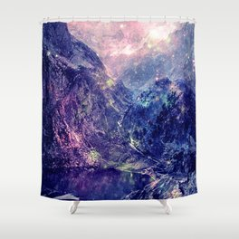 Galaxy Mountains : Deep Pastels Shower Curtain