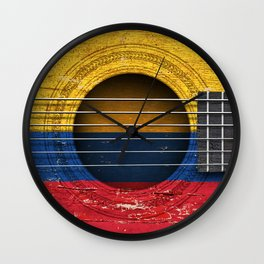 Old Vintage Acoustic Guitar with Colombian Flag Wall Clock