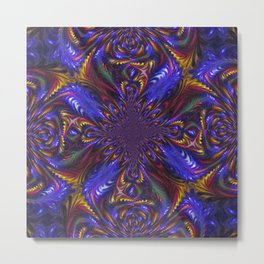 Blue Feathered Kaleidoscope Metal Print
