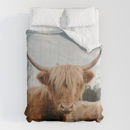 Highland Cow In The Country Comforters