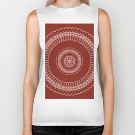 Two Toned Minimual Mandala Design Biker Tank