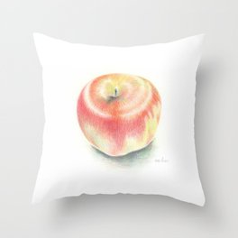 Apple drawn with color pencils Throw Pillow