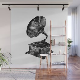 GRAMOPHONE, black and white Wall Mural