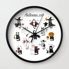 Halloween Cats In Terrible Imagery Wall Clock