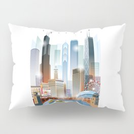 Chicago city skyline painting Pillow Sham
