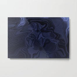 Blue and Black Abstract Artwork Metal Print