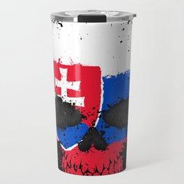 Flag of Slovakia on a Chaotic Splatter Skull Travel Mug