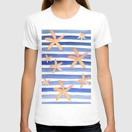 Starfish on blue stripes watercolor design T-shirt