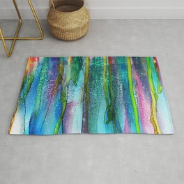 Rainbow Rain - Alcohol Ink Painting Rug