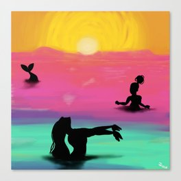 Mermaids in the Sunset Canvas Print