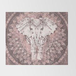 Bohemian, Elephant, Mandala, Blush, Moon Throw Blanket