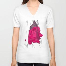 Pink dress Unisex V-Neck