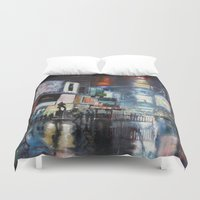broadway Duvet Covers featuring Nights on Broadway by Scott Grabowski