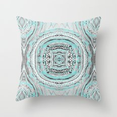 Teal & Blue Complexities - a Watercolor Tribal Pattern Throw Pillow