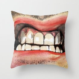 Gritted Teeth Throw Pillow