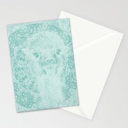 Happy Ghostly alpaca and mandala in Limpet Shell Blue Stationery Cards