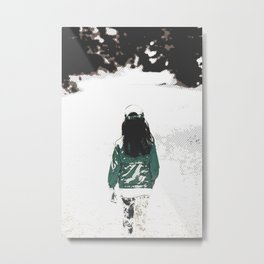 Follow your heart no matter what, walking girl on the road Metal Print
