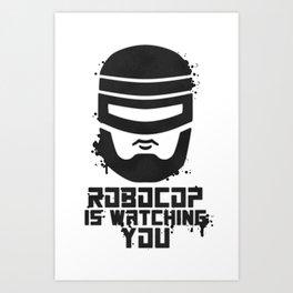 Robocop Is Watching You Stencil Art Print