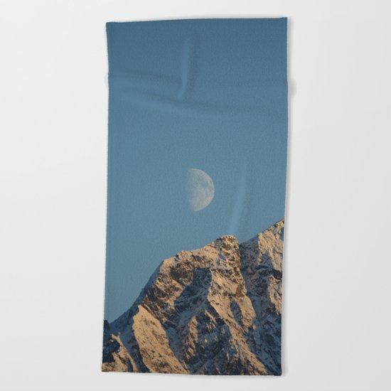 Moon Over Pioneer Peak - II Beach Towel