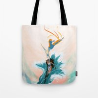aang Tote Bags featuring Katara and Aang by Imogen Scoppie