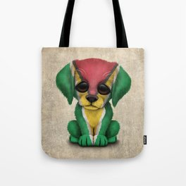 Cute Puppy Dog with flag of Guyana Tote Bag