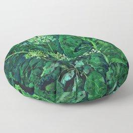 Hydrangea and Horseradish, black and green Floor Pillow