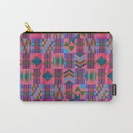Kente Cloth // Summer Sky & Venetian Red Carry-All Pouch