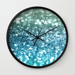 Seafoam Aqua Ocean MERMAID Girls Glitter #4 #shiny #decor #art #society6 Wall Clock