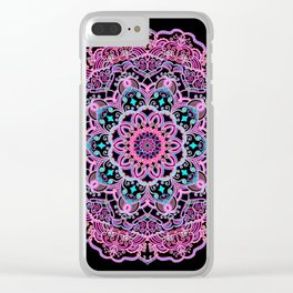 Mandala Project 281 | Pink Teal Purple Lace Mandala Clear iPhone Case
