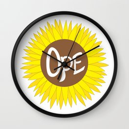 Hand Drawn Ope Sunflower Midwest Wall Clock