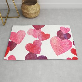 Pink Grungy Hearts Rug