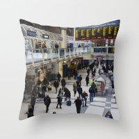 liverpool Throw Pillows featuring Liverpool Street Station London by David Pyatt