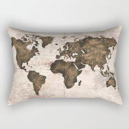 Coffee World Map Rectangular Pillow