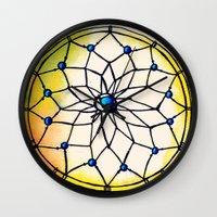 dreamcatcher Wall Clocks featuring Dreamcatcher by goyye