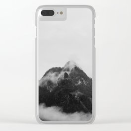 Snow Capped Mountains Fog (Black and White) Clear iPhone Case