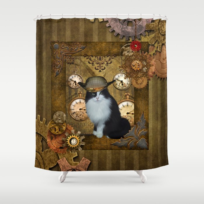Funny Cat With Steampunk Hat Shower Curtain