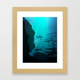 Beautiful coral reef and silhouettes of diver and school of fish in a blue sea Framed Art Print