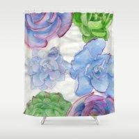 succulents Shower Curtains featuring Succulents by Kate Havekost Fine Art