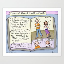 Hilarious and Mocking Introverts -People of Planet Earth Guide Art Print