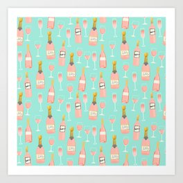 Rose champagne wine food fight apparel and gifts Art Print