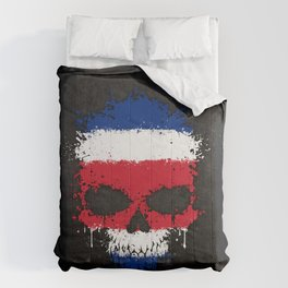 Flag of Costa Rica on a Chaotic Splatter Skull Comforters