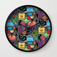 monsters Wall Clocks featuring Monsters by Fran Court