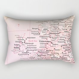Rose Word Map Europe Rectangular Pillow