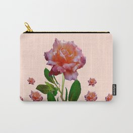 PINK ROSES CORAL BOTANICAL VINTAGE ART Carry-All Pouch