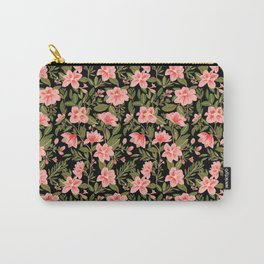 Tropical Pink Floral Pattern Carry-All Pouch