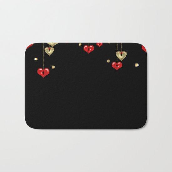 Beautiful glitter shine hearts on black Valentines Day greeting Bath Mat